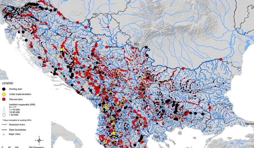 "About 3,000 hydropower plants are projected on the Balkan Peninsula. Their construction would destroy the ""Blue Heart of Europe"". Source: Fluvius"
