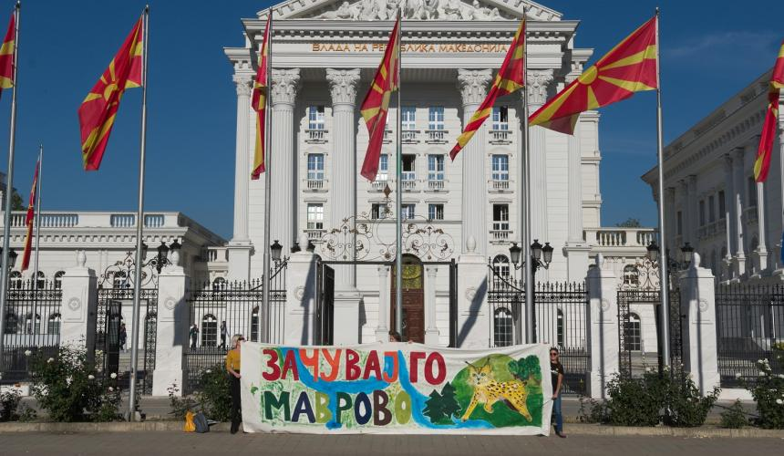 Protest activity in Skopje for the protection of the Mavrovo NP © Eko-svest