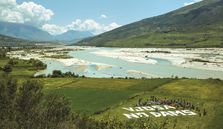 The Vjosa in Albania is the Europe's last big wild river outside Russia. 38 hydropower projects are planned on the Vjosa and its triubtaries. © Andrew Burr