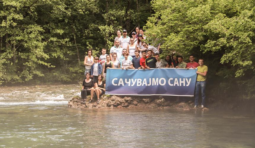 For the ninth year in a row, activists protested at the sources of the river Sana. This year they demand that the sources of Sana should be proclaimed Monument of Nature. © Viktor Bjelic