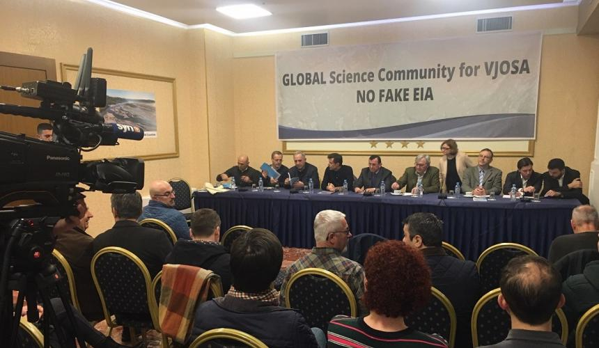 Albanian scientists, supported by colleagues from Austria and Germany, held a press conference to raise their voice against the ongoing EIA process in regards to the Kalivaç dam project. © Ulrich Eichelmann