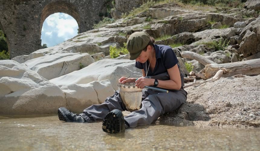 Mag. Michaela Brojer from the Natural History Museum in Vienna at work. She is joining the 30 Scientists for Vjosa, assessing the river's biodiversity. © Nick St.Oegger