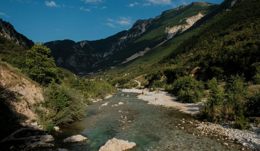 A scenic stretch of the Benca river. This tributary of the Vjosa is threatened by eight hydropower projects. © Nick St.Oegger