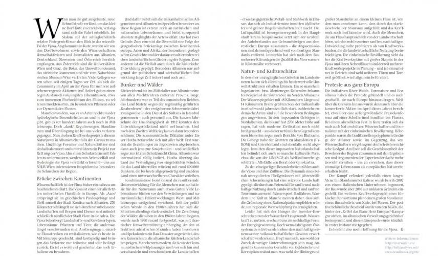 Vjosa article in the summer edition of the Universum Magazine