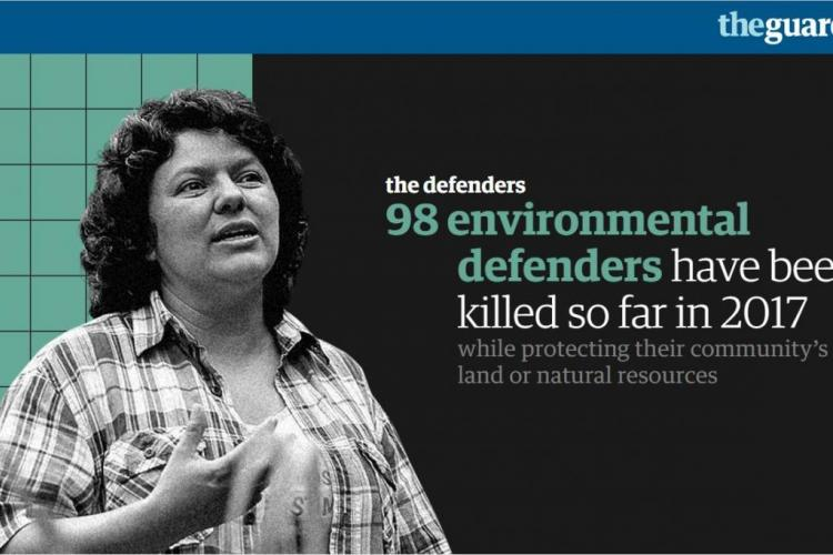 "The Guradian ""defender tracker"" records every murder of environmental defenders. Source: The Guardian"