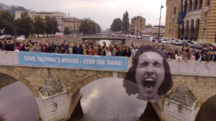 250 Personen aus über 30 Ländern nahmen am ersten Europäischen Flussgipfel in Sarajevo teil. Kunst © Luka Tomac (Kunst) und Flying Pangolin Film (Foto)
