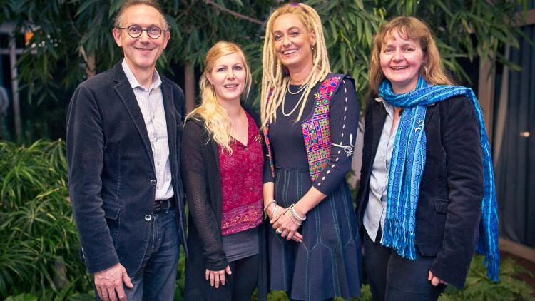 "Trophée de femmes: Claude Fromageot (director of the ""Fondation Yves Rocher"" Paris), Cornelia Wieser (Riverwatch), Stella Deetjen (Back to Life), Elke Mannigel (OroVerde). © Fondation Yves Rocher Vincent Guihur Photographe"