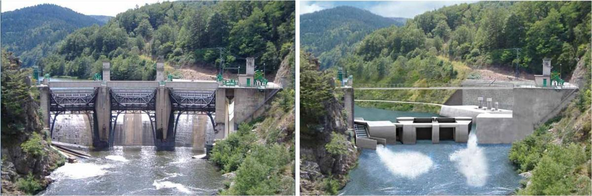 The new dam will be equipped with fully removable gates, a large fishpass and a device to sustain downstream migration. (Salmon) Poutés partial dam removal, before and after (c) EDF