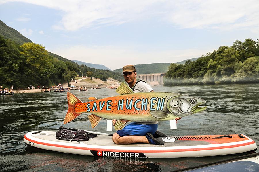 Huchen Protest auf der Drina Regatta. Die Drina ist der wichtigste Fluss für diese global bedrohte Fischart. Dennoch sind hier neun Staudämme geplant © Aleksandar Skoric