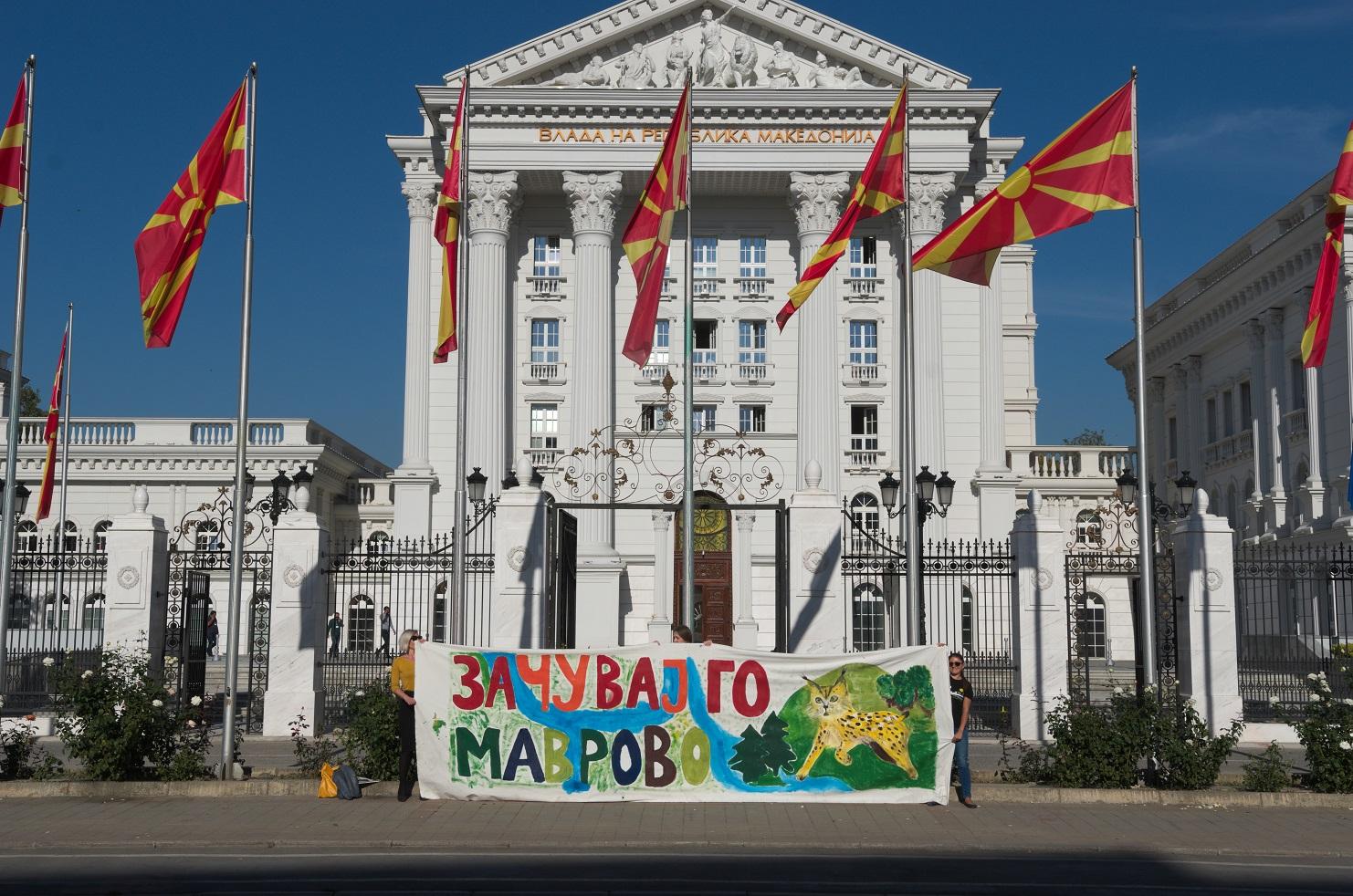 Protestaktion in Skopje zum Schutz des Mavrovo NP © Eko-svest