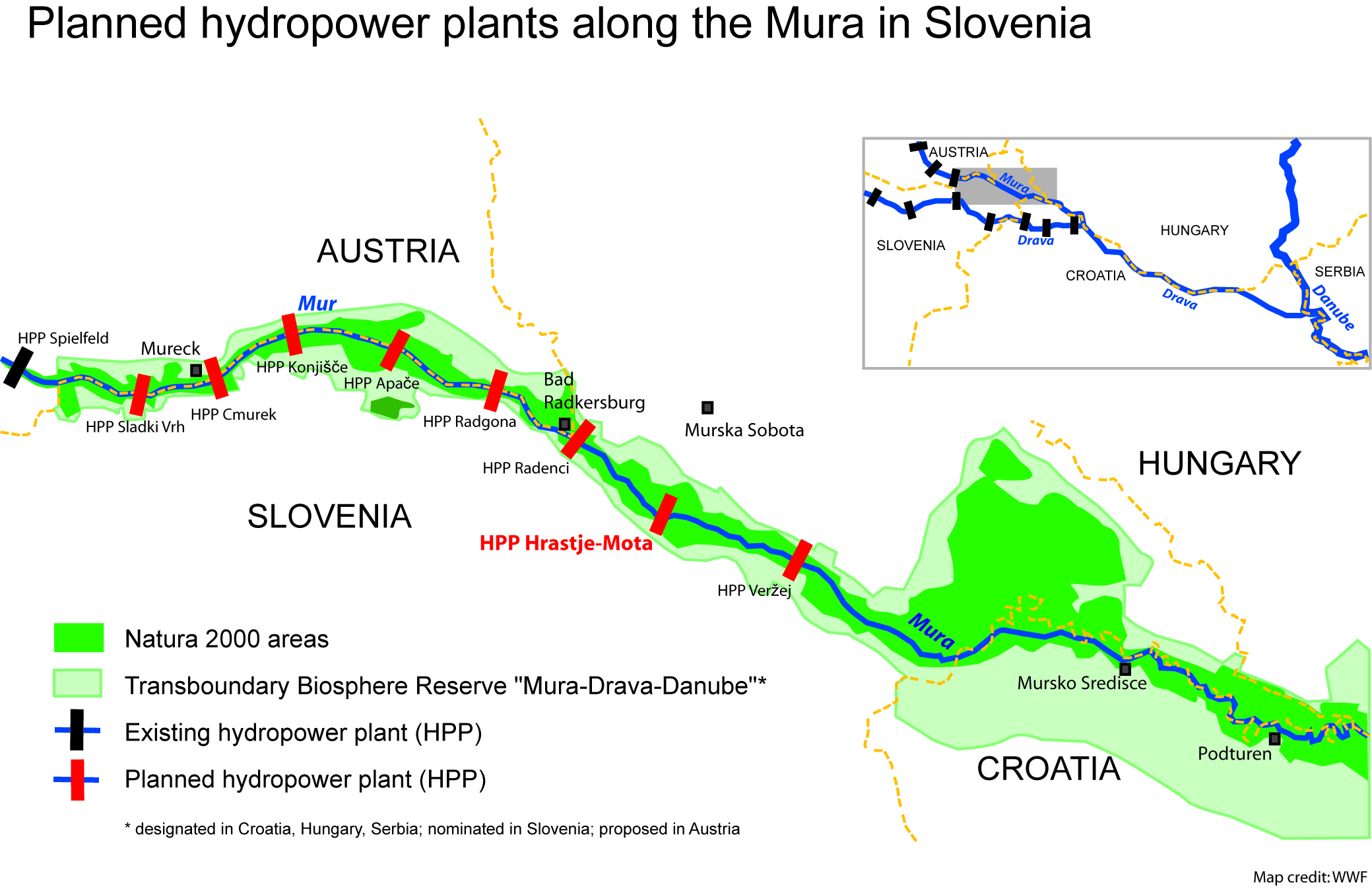 Planned hydropower plants along the Mura © WWF