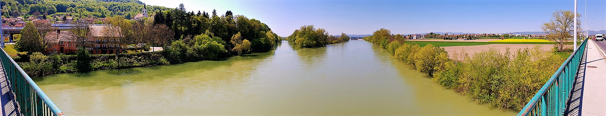 Confluence of Sava and Krka rivers in Slovenia. The Sava river provides important habitat to fish species © Marko Zupančič