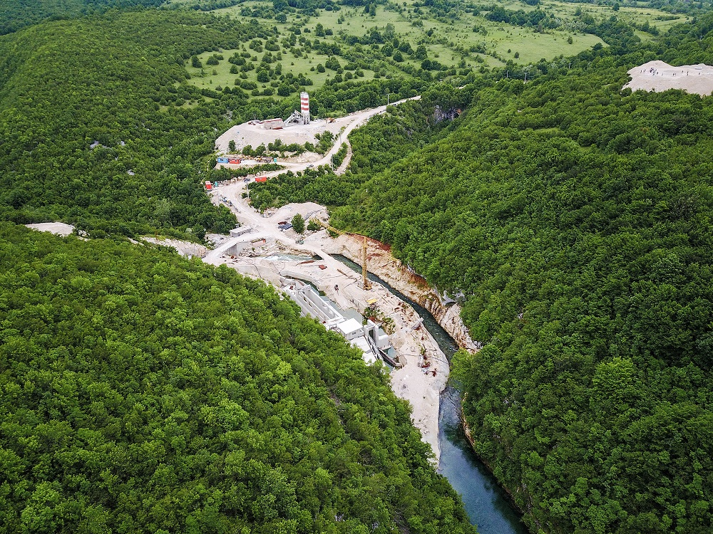 The hydropower plant Medna in Bosnia-Herzegovina is being constructed by Austrian-German company Kelag on the river Sana - one of the six most important rivers for the endangered Huchen. © Matic Oblak