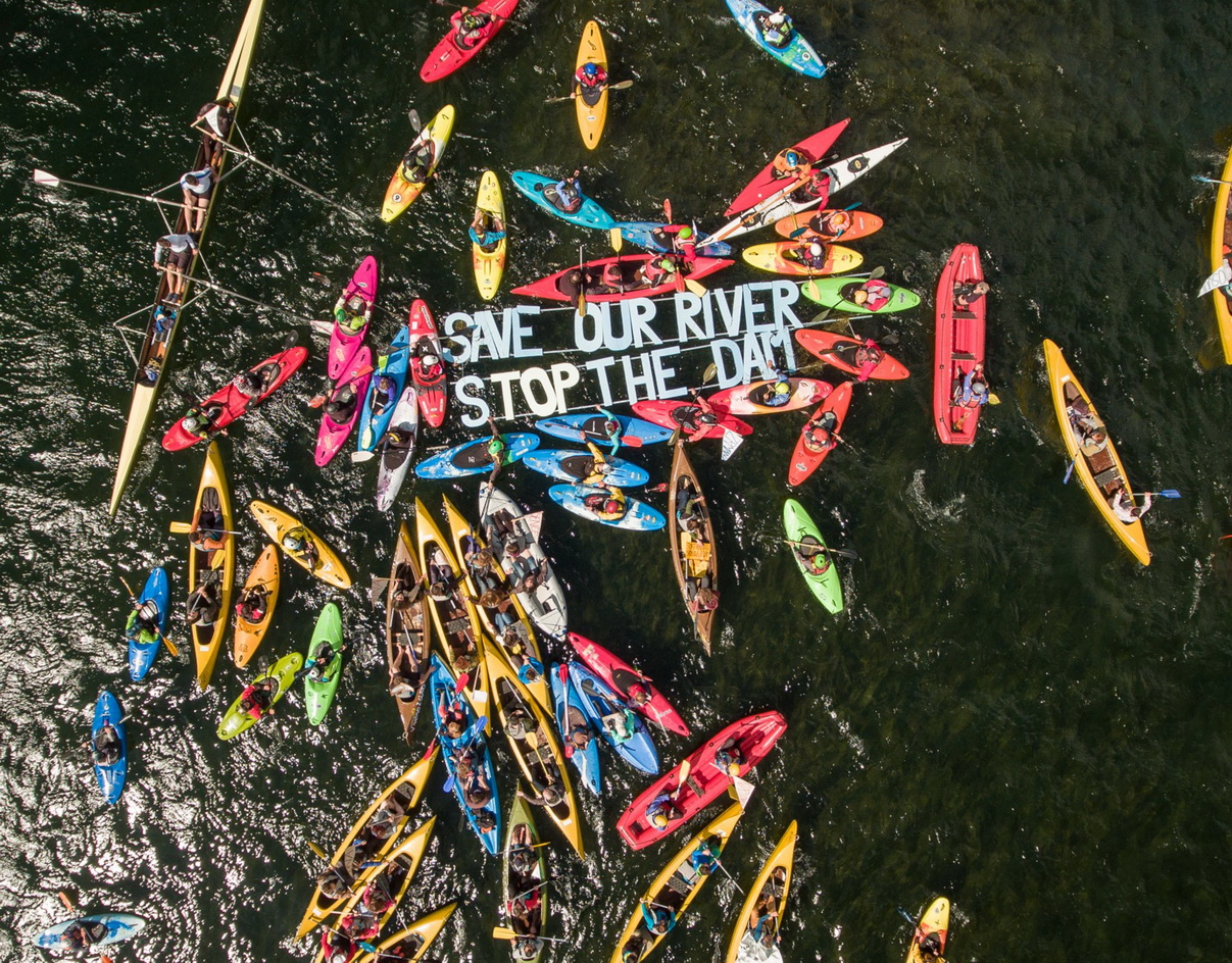 About 150 paddlers opened the Balkan Rivers Tour at Bohinj Lake in Slovenia today. © Matic Oblak