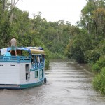 One can visit the national park on such boats – a little noisy but comfortable.